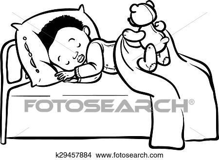 Funny Vector Cartoon Sleeping Baby Clipart