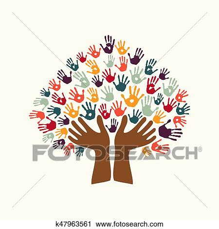 Hand Print Ethnic Tree Symbol Of Culture Diversity Clipart