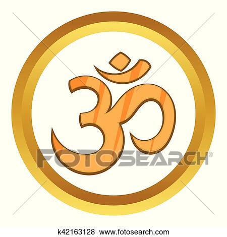 Clip Art Of Hindu Om Symbol Vector Icon K42163128 Search Clipart