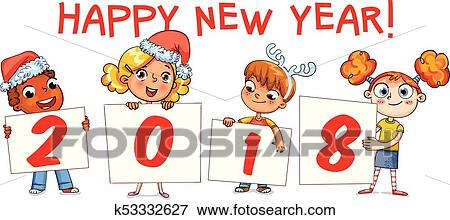 children holding a poster with the signature 2018 merry christmas and happy new year 2018 funny cartoon character vector illustration