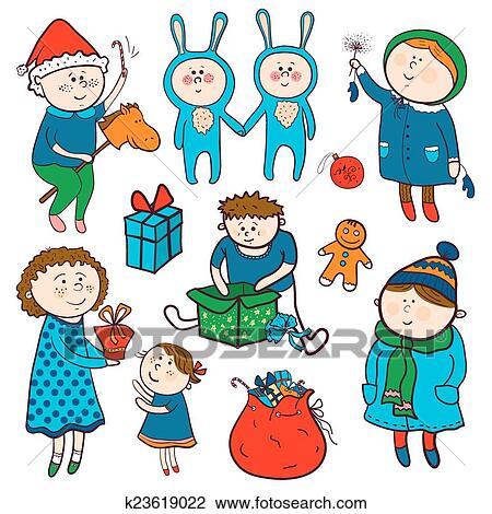 Infantil Natal Vetorial Jogo Em Caricatura Estilo Clipart