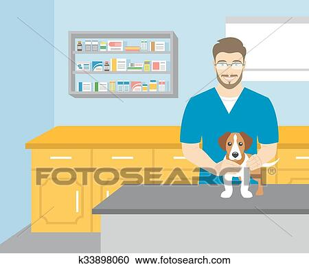 Man Veterinarian Holding A Dog In Veterinary Office Clipart