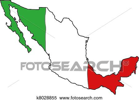 clipart of mexico flag map k8028855 search clip art illustration rh fotosearch com mexican flag clip art pictures american flag clip art