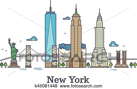 Clip art new york linea vettore simbolo nyc for Disegni new york