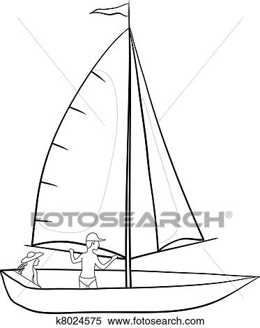 Clipart Of Sailing Boat With A People Contours K8024575