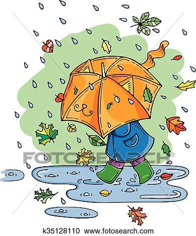 Vector illustration of cute kid with umbrella in rainy ...