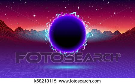 80s synthwave styled landscape with portal or electric black hole and grid  mountains on arcade space planet Clipart