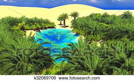 African Oasis On Sahara Stock Illustration K32069706 Fotosearch