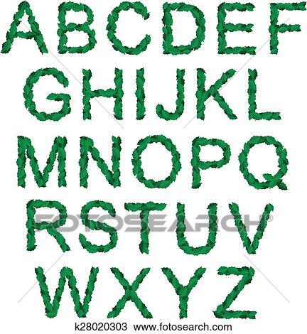 Clipart - alfabeto, con, verde, santo, hojas, para, navidad ...