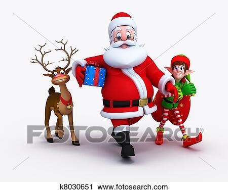 Babbo Natale E Gli Elfi.Babbo Natale Con Elfi E Renna Clip Art K8030651 Fotosearch