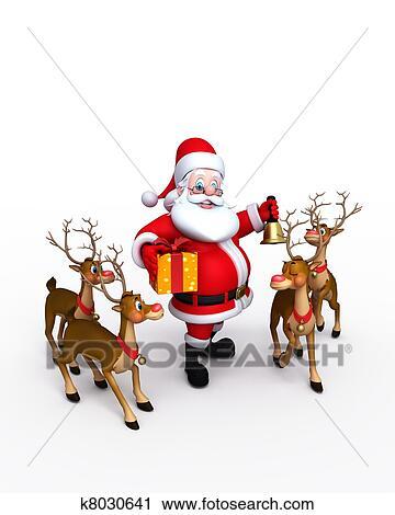 Babbo Natale Con Le Renne.Babbo Natale Con Renna Clip Art K8030641 Fotosearch