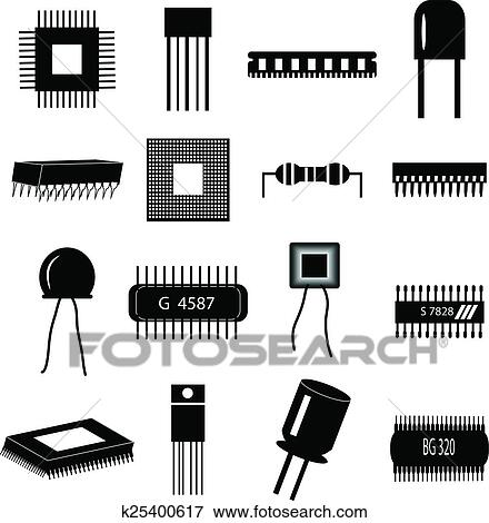 Electronic Circuit Parts Icons Set Clip Art K25400617