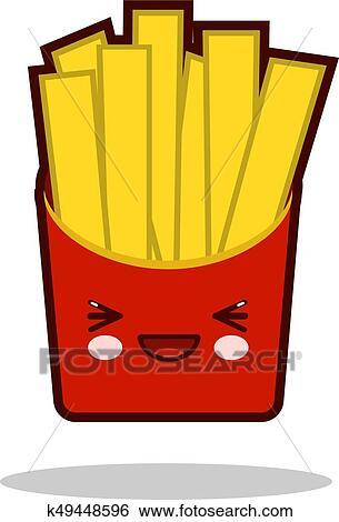 Engracado Batatas Fritas Caricatura Personagem Icone Kawaii