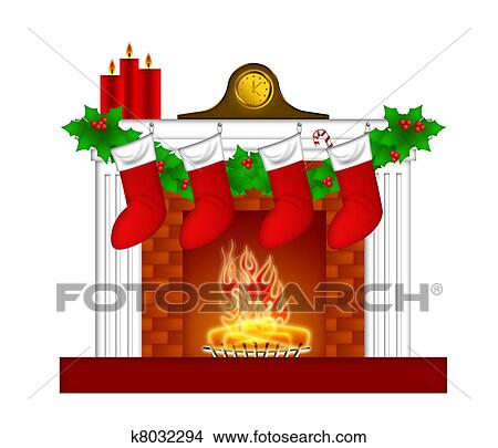 drawings of fireplace christmas decoration wth stockings and garland rh fotosearch com christmas fireplace clipart christmas fireplace clipart