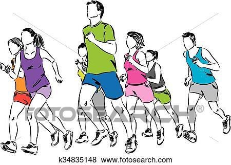 clip art of group of runners illustration k34835148 search clipart rh fotosearch com runners clip art free running clipart