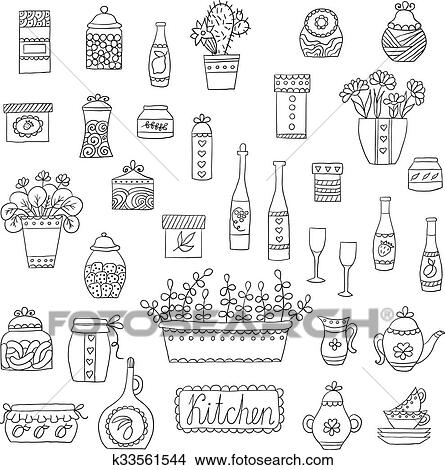 Clipart Of Kitchen Set In Vector Stylish Design Elements Of Kitchen