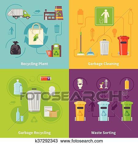 Clipart Lixo Reciclagem Icones Conceito Jogo K37292343 Busca