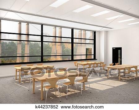 Moderno, comedor, con, un, grande, ventana., de madera, mesas, y, chairs.,  3d, ilustración Dibujo