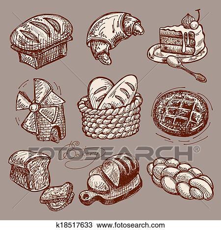 Dessin Boulangerie clipart - numérique, dessin, boulangerie, icône, ensemble k18517633