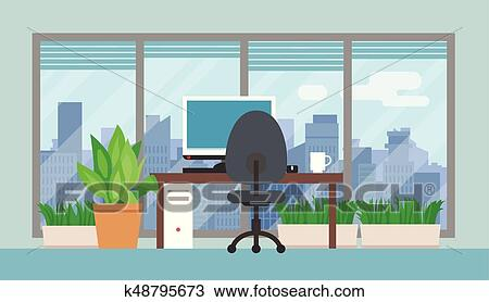 Clipart of Office room with green plants k48795673 - Search Clip Art ...