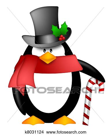 drawings of penguin with top hat red scarf and candy cane clipart rh fotosearch com crane clipart free can clip art be used as a logo