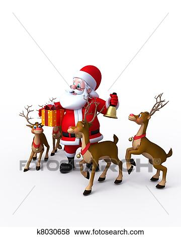 stock illustration of santa with his reindeer k8030658 search eps