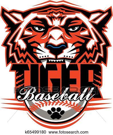 Tiger Baseball Logo - Vector Clipart Tiger