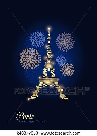 Clipart Vector Dorado Encendido Torre Eiffel Rodeado Por