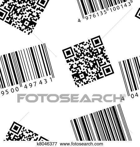 clip art of barcode and qr code seamless vector wallpaper k8046377