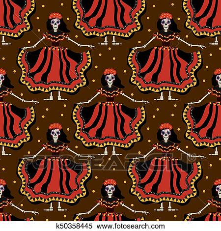 Dia De Los Muertos Calavera Katrina Seamless Pattern Day Of The Dead With Girl Endless Background Repeating Texture Vector Illustration