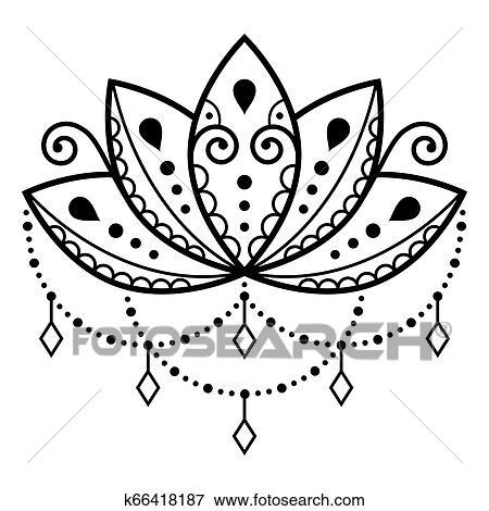 Flor Lotus Vetorial Desenho Mehndi Tattoo Henna Estilo Ioga Ou Zen Decoração Boho Estilo Clipart