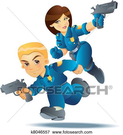 Gendarme dans action clipart k8046557 fotosearch - Gendarme dessin ...
