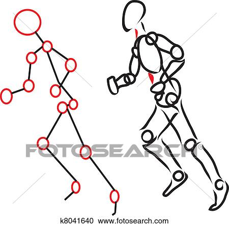 Clipart Of Human Body Running K8041640
