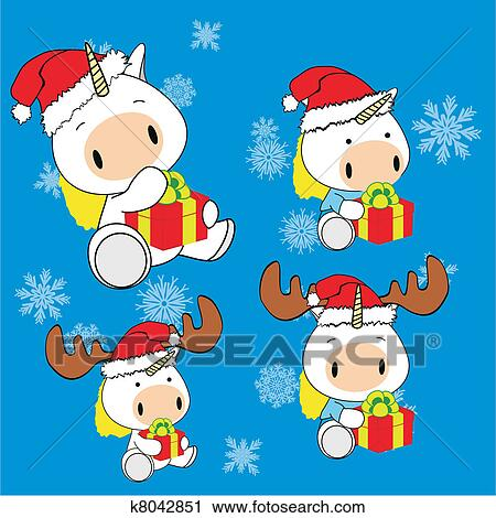 Clipart Licorne Bebe Dessin Anime Noel Ensemble K8042851