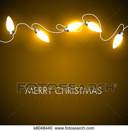 Christmas Chain Clipart.Vector Christmas Background With Golden Lights Clipart