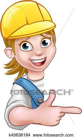 Clipart of Woman Handyman Carpenter Mechanic or Plumber k45636184 ... 1c7d89547b9f