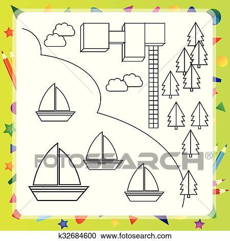 Clipart Ausmalbilder Mit Schiffe Und Landkarte K32684600
