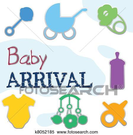 clipart of baby arrival and announcements card collection k8052185 rh fotosearch com announcement clipart pictures announcement clip art for retirement