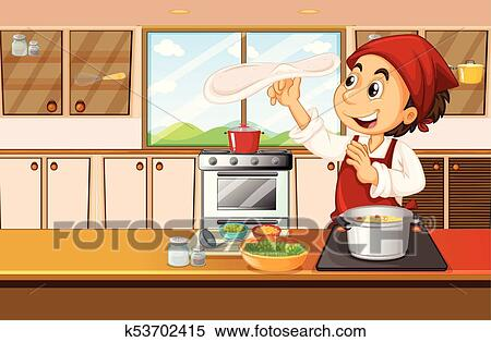 Chef cooking food in kitchen Clipart
