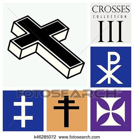 Tipos De Cruces clipart - conjunto, de, diferente, tipos, de, cruces, en, fondo