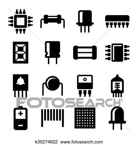 Clipart Of Electronic Components And Microchip Icons Set Vector
