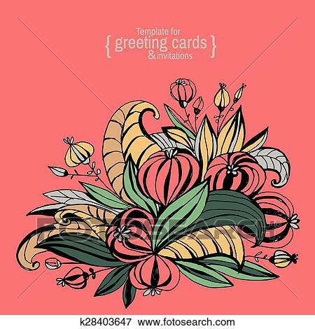 Template for greeting cards, invitations, posters, brochures or banners. Hand-drawing fancy flowers with leaves.