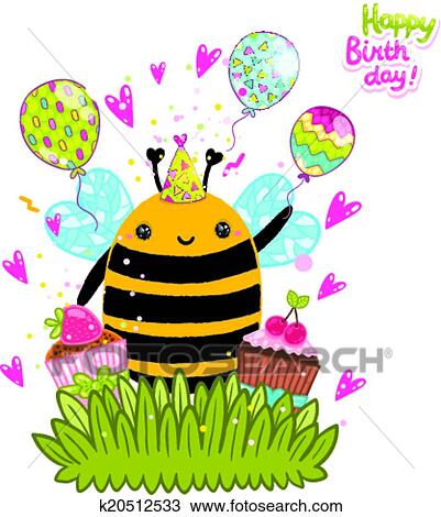 Clipart Of Happy Birthday Card Background With A Bee K20512533