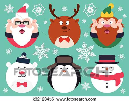 Round Flat Christmas Characters Clip Art