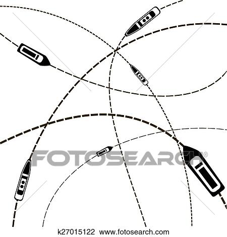 Clipart Of Sea Travel Ship On Their Destination Routes Top View