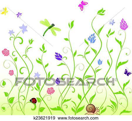 Clip Art Seamless Frühling Hintergrund K23621919 Suche Clipart