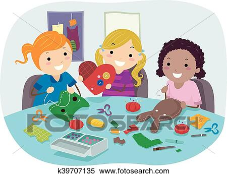 Stickman Kids Sewing Party Crafts Girls Clipart K39707135 Fotosearch