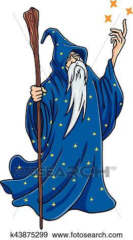 Zauberer, karikatur, mit, blau, und, sternen, kleidung ...