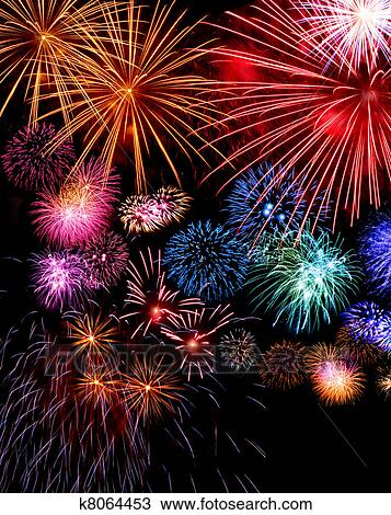 stock photo of big fireworks display festive k8064453 search stock