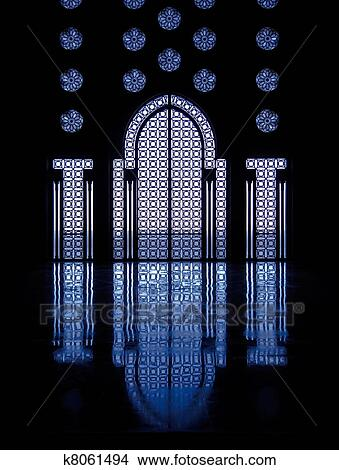 Blue Light Reflects Off Marble Floor From Illuminated Stained Gl Windows Framing Doorway Into Mosque